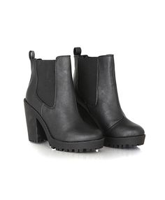 Diva Leather Platform Chelsea Boots Black - missguided  €48.98