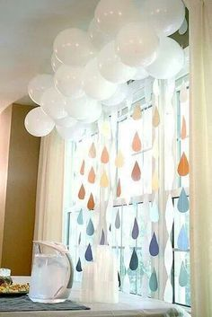 White paper mâché balloons Science : Rain (look at shades/tones when creating water droplets)