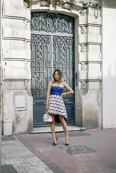 Pretty in Dior on the streets in Paris.