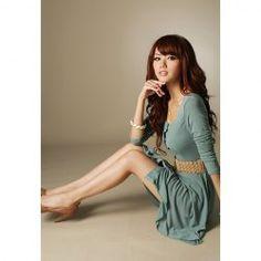 Elegant Solid Color Fastener Embellished Cotton Blend Dress For Women