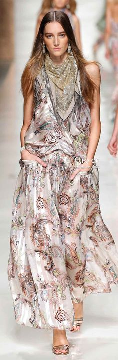 Etro Spring 2014 Collection features their stunning textile prints on a myriad of ready to wear maxi dresses, sarong styled skirts, and casual pants.