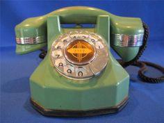 So Beautiful!!  Automatic Electric Monophone AE34 Nile Green & Chrome 1930 Rotary Dial Telephone