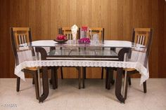 Table Cover Designer Vinyl Tablewares  *Material* Vinyl   *Capacity* 6 Seater   *Size* (L x W) - 60 in x 90 in   *Description* It Has 1 Piece Of Tableware  *Sizes Available* Free Size *   Catalog Rating: ★4.1 (128)  Catalog Name: Classy Vinyl Transparent Table Covers Vol 1 CatalogID_36020 C129-SC1637 Code: 013-339259-