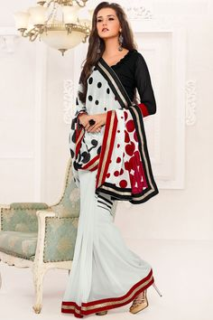 Off-white and Black Chiffon and Faux Georgette Printed Party Saree Sku Code:207-4034SA611335 $ 45.00