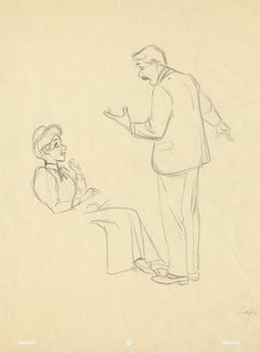 This Milt Kahl drawing of Jim Dear and Darling from Disney's Lady and the Tramp was only just made public for the first time