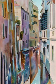'Venice Canals.' Painting on silk by Natasha Foucault.