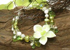 ~~✿ WILD ORCHID ✿~~ by DS-Designs, Bracelet, Lampwork Bead, Orchid, Flower, Blossom, white, green, One of a Kind, Glass, Art, Jewelry, Artist, Armband, Künstlerperle, Glasperlen, Orchidee, Blume, Blüte, weiß, grün, Unikat, Schmuck, Designer, Designerschmuck