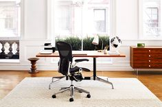 If you work from home, you're probably going to spend hours sitting at a desk.  It's essential for your health to choose a comfortable, supportive chair.  You'll also want one that will look good in its setting.  This classic is the Aeron Chair from Herman Miller.