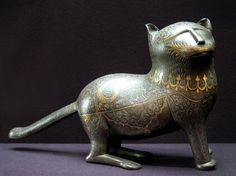 Persian cat - steel cast, incised and inlaid with gold and silver | from Iran,  nineteenth century   Musée du Louvre, Paris