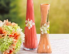 Coral and peach painted bud vases