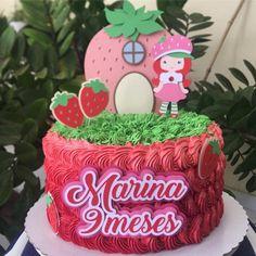 Bolo da Moranguinho: 80 ideias delicadas e tutoriais de como fazer Strawberry, Birthday Cake, Fondant, Desserts, Birthday Cakes, Strawberry Shortcake Birthday, Birthday Cake For Baby, Pastry Art, Cakes With Roses