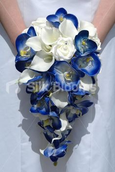 The 165 best blue wedding flowers and inspiration images on royal blue orchid ivory calla lily rose cascading bouquet mightylinksfo