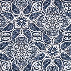 Tibi Navy Blue Paisley Cotton Print Drapery Fabric by Premium Prints