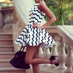black & white zig zag dress
