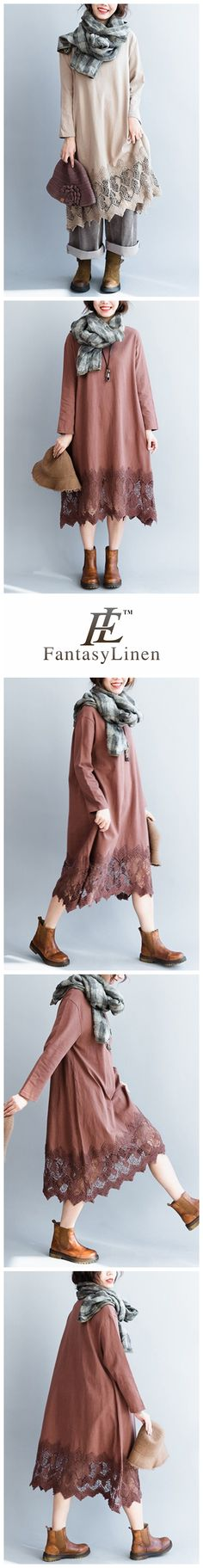 Women's Elegant Lace Loose Cotton Dress With Long Sleeve Q7114