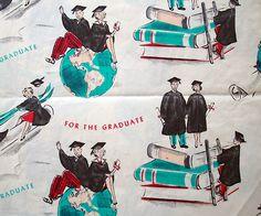 vintage wrapping paper - graduation, books, graduates, globe by blempgorf, via Flickr
