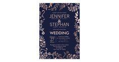 Elegant Navy Blue Rose Gold Floral Wedding Invites Elegant Save the Date Wedding Invitations