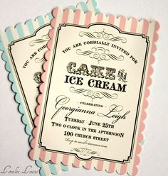 invites for cake and ice cream party
