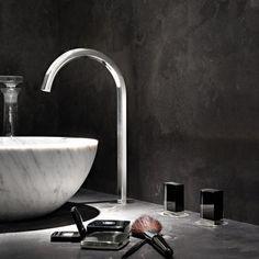 Dreiloch-Waschtisch-Armatur Venezia | hoher Auslauf | Fantini | Design: Thun & Rodriguez | Muranoglasgriffe, verschiedene Oberflächen