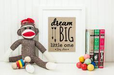 Dream Big Little One | Baby Shower Gift | Boy Nursery | Baby Girl Nursery Decor | Nursery Art | Personalized Gift for New Mom | Baby Shower