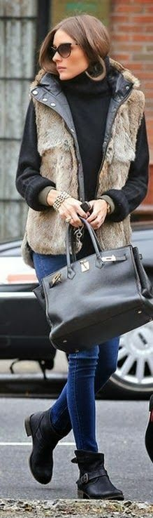 Olivia Palermo with Amazing Fur,Black Sweater ,Blue Jeans and Leather Boots&Handbag