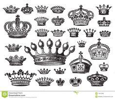 Jogo De Coroas Antigas (vetor) Foto de Stock - Imagem: 13610380