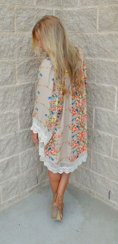 Taupe Of My Class Floral Kimono