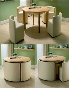 space saving table and chairs.I wonder if you could build these with frame, foam and cover. I would love to do it to match décor or to do a mini set for in a kids playroom house design with kids Round Dining Table & Chairs for Small Homes Smart Furniture, Home Decor Furniture, Modern Furniture, Diy Home Decor, Furniture Design, Room Decor, Furniture Ideas, Folding Furniture, Rustic Furniture
