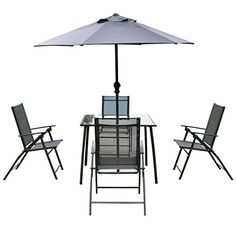 d6f9751497f Giantex 6PCS Patio Garden Set furniture 4 Folding Chairs Table with  Umbrella Gray