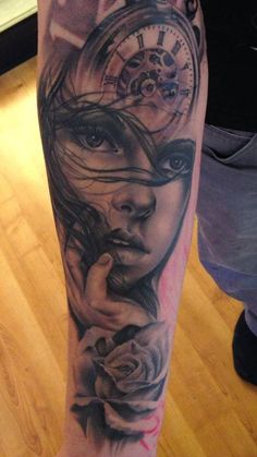 lady clock, part of a sleeve | InkFreakz.com