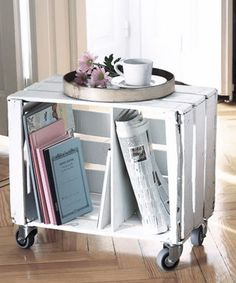 Aren't these crates cheap at AC Moore?Stack to create bookshelf or attach to wall like a shelf (off the floor). Crate Coffee Table on Wheels. Great for bedroom and/or spare rooms. Old Crates, Wooden Crates, Wooden Diy, Wooden Boxes, Wine Crates, Wooden Crate Furniture, Diy Furniture, Furniture Design, Furniture Plans