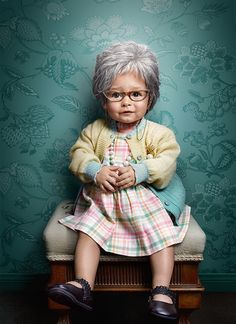 Babies photographed as old people. Absolutely adorable!