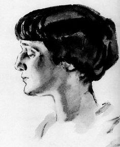 Russian poet Anna Akhmatova, 1927 Russian Poets, Russian Art, Anna Akhmatova, Wolves And Women, Russian Literature, Modigliani, Drawing S, Art Inspo, Sketches
