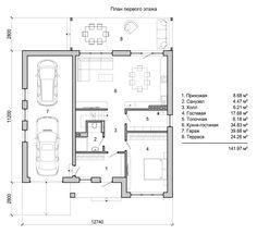Планировка первого этажа дома из кухни-столовой-гостинной, совмещенным санузлом, спальней, топочной, гаражом и открытой террасой Pool House Plans, Garage House Plans, Craftsman House Plans, New House Plans, Dream House Plans, Small House Plans, Southern Living House Plans, Facade House, Square Feet
