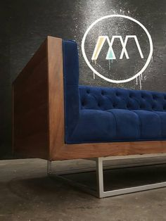 Custom Milo Baughman Style Solid Walnut Encased sofa with black Naugahyde. With your choice of fabric or upgrading to top grain leather. All built in