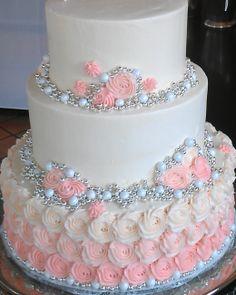 use gold instead of silver Elegant Birthday Cakes, Birthday Cake Roses, 15th Birthday Cakes, Sweet 16 Birthday Cake, Blush Wedding Cakes, Wedding Shower Cakes, Fall Wedding Cakes, Wedding Cakes With Cupcakes, Wedding Cakes With Flowers