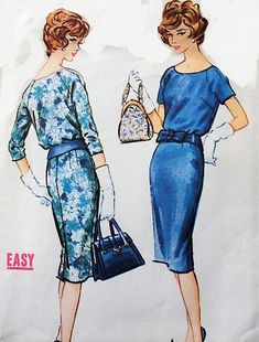 CHIC Slim Tw o Pc Dress Pattern McCALLS 4966 Classy Day or Cocktail Dinner Dress Bust 40 EASY To SEW Vintage Sewing Pattern-Authentic vintage sewing patterns: This is a fabulous original dress making pattern, not a copy. Because the sewing patt Mccalls Patterns, Vintage Sewing Patterns, Dress Making Patterns, Diy Clothes, 1950s, Classy, Chic, How To Wear, Super Easy
