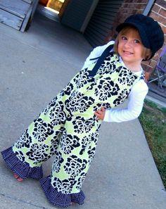 Girls Handmade Pillowcase Romper Overalls Black by beingmadenew, $34.95