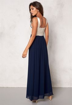 Chiara Forthi Dalilah Embellished Dress Beige/Blue - Bubbleroom