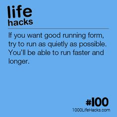 Improve your life one hack at a time. 1000 Life Hacks, DIYs, tips, tricks and More. Start living life to the fullest! 100 Life Hacks, Simple Life Hacks, Useful Life Hacks, How To Get Better, How To Run Faster, The More You Know, Good To Know, Good Running Form, Running Tips