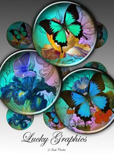 Digital Collage Sheet - BRIGHT BUTTERFLY- 2 inch circles- Printable Images for resin jewelry, paper craft, bottle caps, magnets. 126