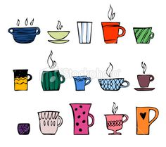 color cup of tea or coffee Royalty Free Stock Vector Art Illustration