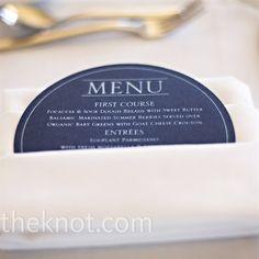 menu printed on dark-blue round disks and tucked inside white linen napkins. Anniversary Dinner, 50th Wedding Anniversary, White Napkins, Linen Napkins, Blue Menu, Menu Printing, Party Buffet, Wedding Table Settings, Menu Cards