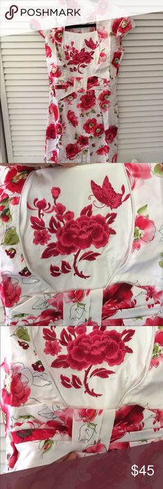 Embroidered floral prints dress Brand new with tag, open sides Dresses