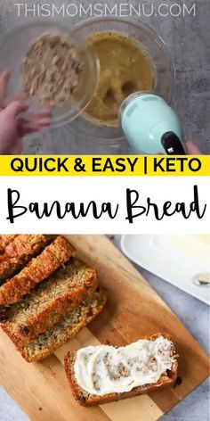 Optavia Discover Keto Banana Bread This Keto Banana Bread is exactly what you have been missing on your ketogenic diet! It makes the perfect low carb snack or quick keto breakfast. Try it with your favorite additions like chocolate chips or chopped nuts. Low Carb Keto, Low Carb Recipes, Keto Fat, Keto Carbs, Cooking Recipes, Healthy Recipes, Protein Recipes, Keto Postres, Keto Snacks