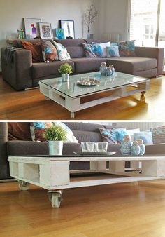 Sleek and Stylish DIY Coffee Tables • Lots of Ideas and Tutorials! Including from 'anna from plan b', this wonderful DIY pallet coffee table.