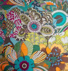 Fleurs d'Indiennes by Aline Honore Textile Prints, Textile Design, Floral Prints, Textiles, Silk Scarves, Hermes Scarves, Cowgirl Bling, Scarf Design, Vintage Scarf