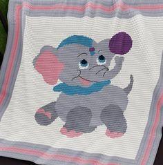 Crochet Pattern | Baby Blanket / Afghan - Circus Baby Elephant
