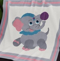 Crochet Pattern | Baby Blanket / Afghan - Circus Baby Elephant