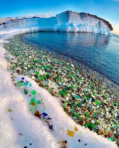 The Ussuri Bay on the Russian shoreline used to be a dumping ground for old glass bottles and waste from a porcelain factory but the waves from the Pacific Ocean have rounded and polished the debris left behind.